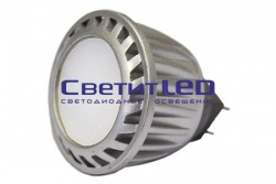 Лампа LED GU4(MR11), 2W, 220V, теплый 3000К, 150Lm